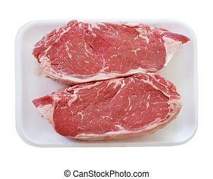 Raw beef steak in a plastic or foam tray