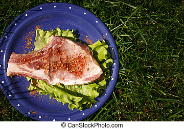 Raw beef steak with pepper on blue plate with leaf lettuce