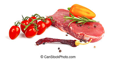 raw beef steak with vegetables