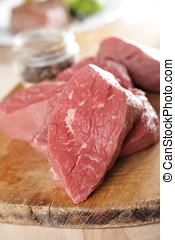 Raw beef steaks