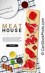 Raw beef steaks, tenderloin, strip loin, rib eye, t-bone and...