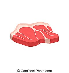 Raw beef tenderloin. Fresh meat. Organic food. Culinary theme. Flat vector icon for poster or banner of butcher shop