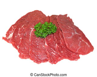 raw beef tenderloin on a white background
