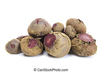 raw beetroot isolated on white background