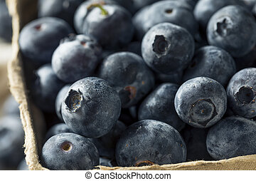 Raw Blue Organic Blueberries in a Basket