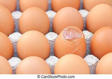 Raw break egg