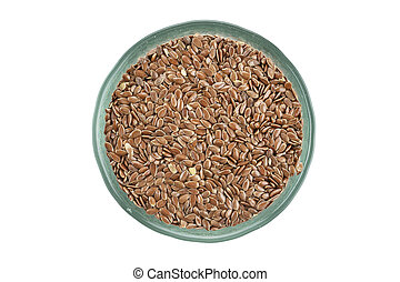 raw buckwheat in a plate isolated