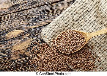 raw buckwheat on the table