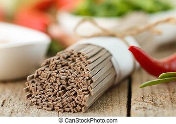 Raw buckwheat soba noodles