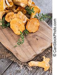Raw Chanterelles - Portion of raw Chanterelles on vintage ...