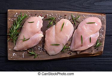 Raw chicken ( fillet ) with ingredient