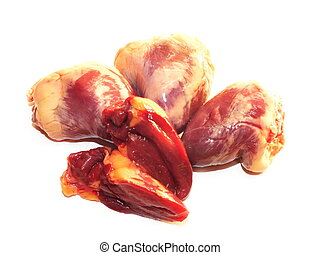 raw chicken hearts against white background