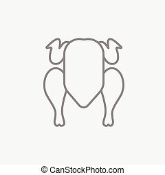 Raw chicken line icon. - Raw chicken line icon for web,...