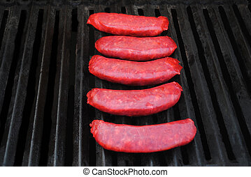 Raw Chinese Sausage Cooking on a Summer Grill
