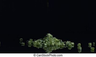 Raw chive on black background - Raw chive cut on pieces...