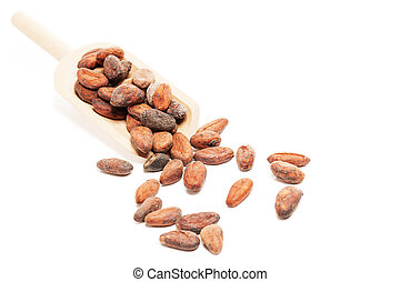 raw chocolate beans with a wooden spoon on white background