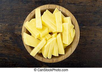raw chopped potatoes