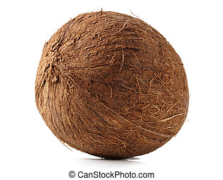 raw coconut on its shell, isolated on white