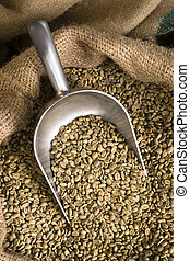 Raw Coffee Seeds Bulk Scoop Burlap Bag Agriculture Bean -...