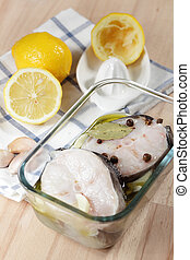 Raw conger before baking - Two slices of raw conger with ...