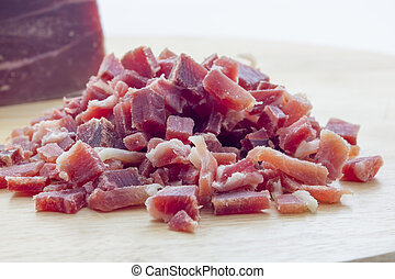 Raw diced bacon