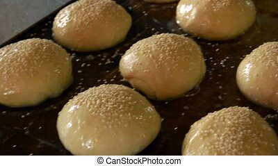 Raw dough on oven tray.
