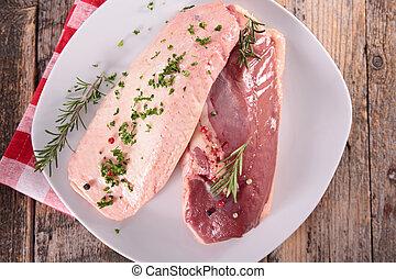 raw duck meat