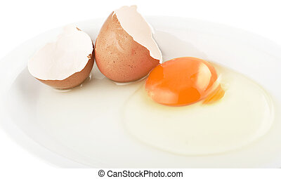 Raw egg tear into half with yolk and albumin