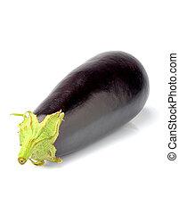 Raw eggplant isolated closeup.