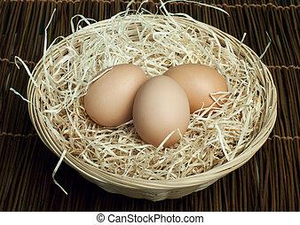 Raw eggs in a wicker basket