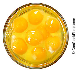 Raw Eggs in Glass Bowl Over White