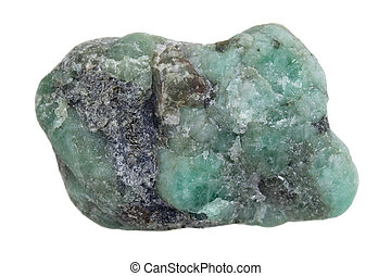 raw emerald gemstone (mineral beryl) with inclusions mined in Brazil isolated on white