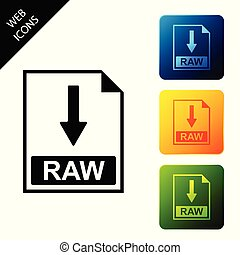 RAW file document icon. Download RAW button icon isolated. Set icons colorful square buttons. Vector Illustration