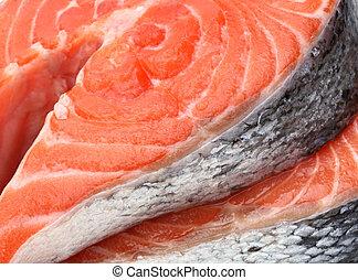 raw fillet of fresh salmon fish