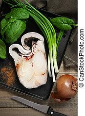 Raw fish steak
