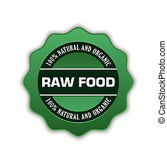 Raw food badge - Green raw food badge on white background