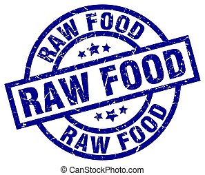 raw food blue round grunge stamp