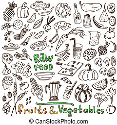 raw food - doodles collection - raw food - set icons in...