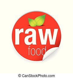 Raw food label tag red vector