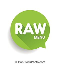 Raw Food Menu label vector green