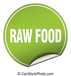 raw food round green sticker isolated on white