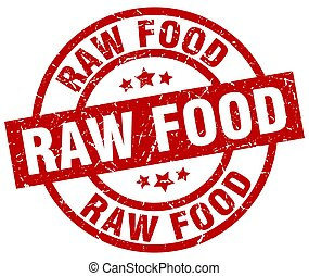 raw food round red grunge stamp