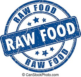Raw food rubber stamp isolated on white background