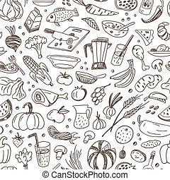 raw food - seamless background with icons in sketch style