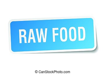 raw food square sticker on white