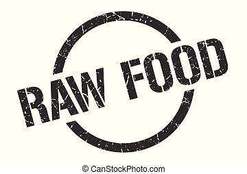 raw food stamp - raw food black round stamp