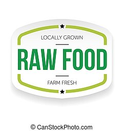 Raw food vintage label vector