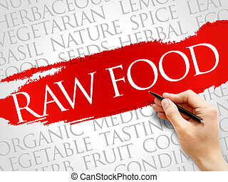 RAW FOOD word cloud, health concept