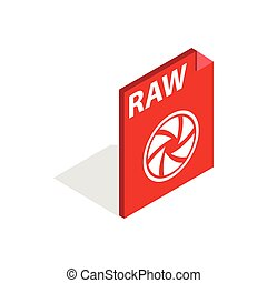 RAW format icon, isometric 3d style