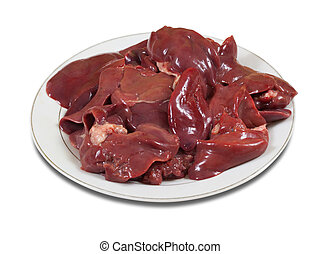 Raw fresh bird liver